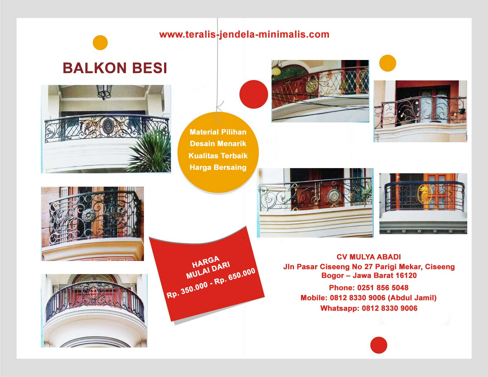 Harga Balkon Besi